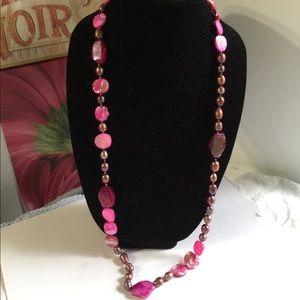 "Jewelry - ""B""  Pearl, biwa pearl and striped agate necklace."